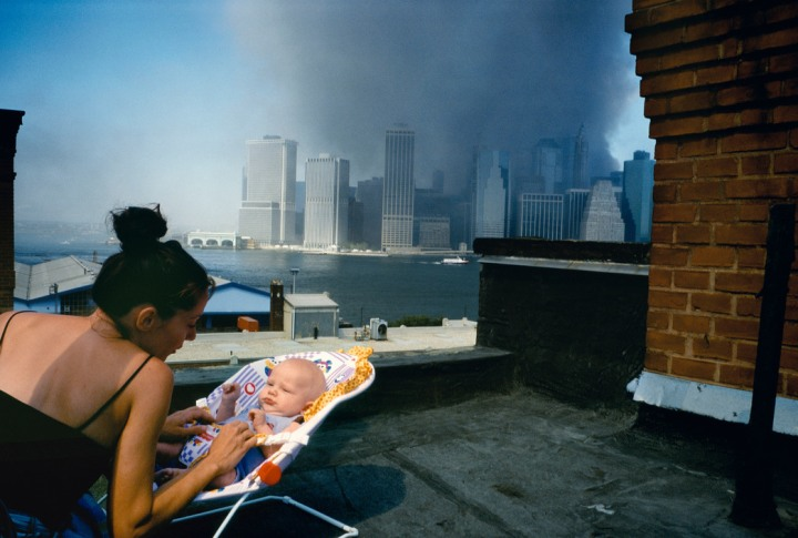 USA. New York City. September 11, 2001. View of Lower Manhattan from a Brooklyn Heights rooftop.